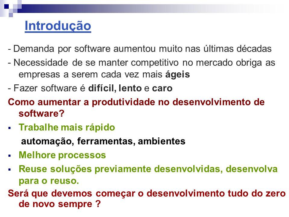 Reuso de Software - Reuso de Software é o processo de incorporar no desenvolvimento de um novo produto: - Código fonte - Plano de testes - Especificações, análise, modelos arquiteturais - Enfim qualquer produto gerado durante desenvolvimentos anteriores