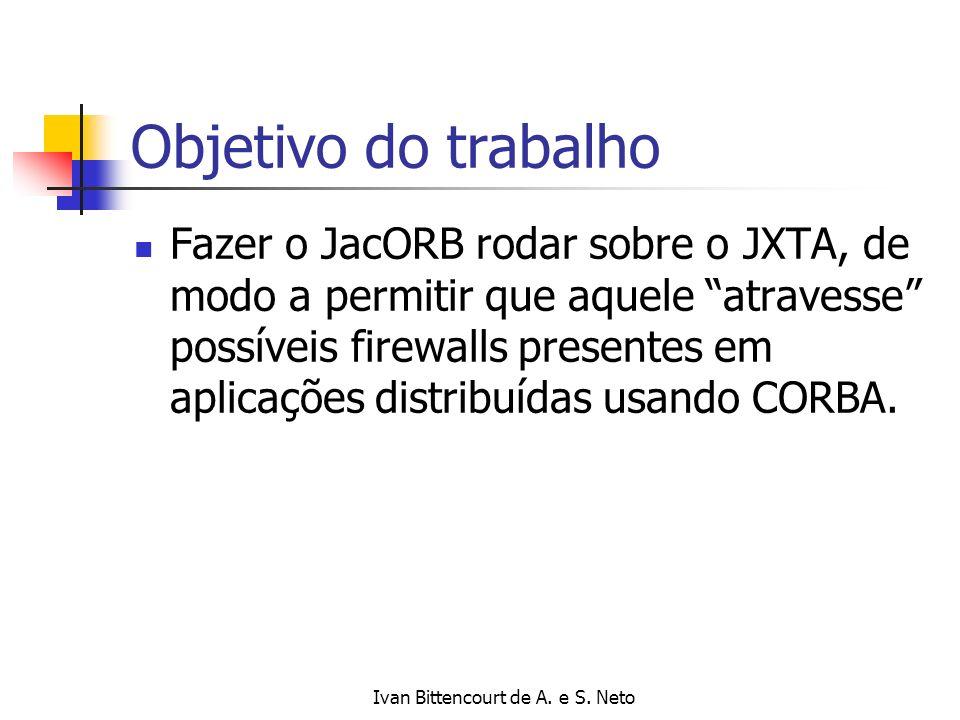Ivan Bittencourt de A. e S. Neto Objetivo do trabalho Fazer o JacORB rodar sobre o JXTA, de modo a permitir que aquele atravesse possíveis firewalls p