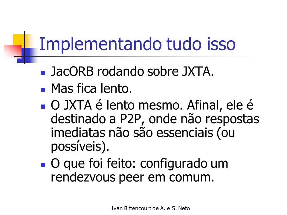 Ivan Bittencourt de A. e S. Neto Implementando tudo isso JacORB rodando sobre JXTA. Mas fica lento. O JXTA é lento mesmo. Afinal, ele é destinado a P2