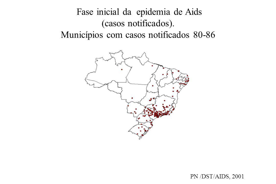Fase inicial da epidemia de Aids (casos notificados). Municípios com casos notificados 80-86 PN /DST/AIDS, 2001