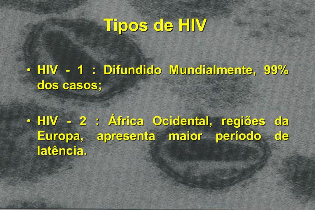 Tipos de HIV HIV - 1 : Difundido Mundialmente, 99% dos casos;HIV - 1 : Difundido Mundialmente, 99% dos casos; HIV - 2 : África Ocidental, regiões da E