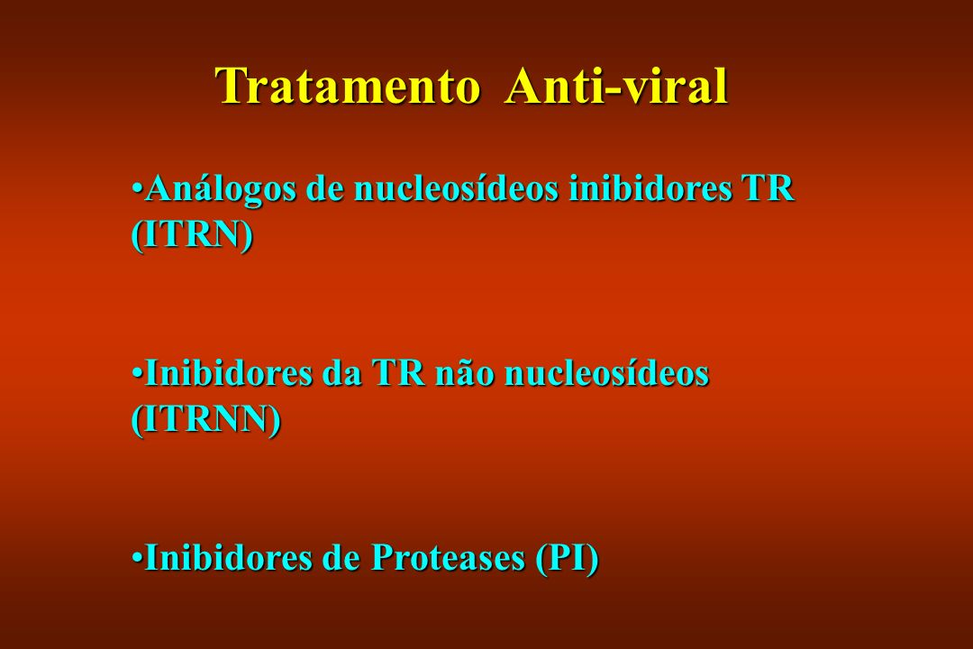 Tratamento Anti-viral Análogos de nucleosídeos inibidores TR (ITRN)Análogos de nucleosídeos inibidores TR (ITRN) Inibidores da TR não nucleosídeos (IT