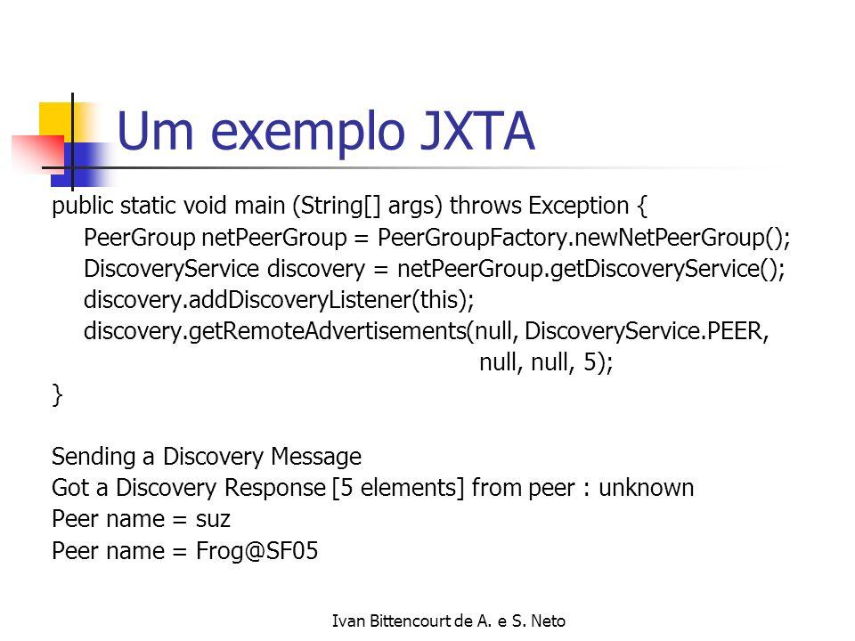 Ivan Bittencourt de A. e S. Neto Um exemplo JXTA public static void main (String[] args) throws Exception { PeerGroup netPeerGroup = PeerGroupFactory.