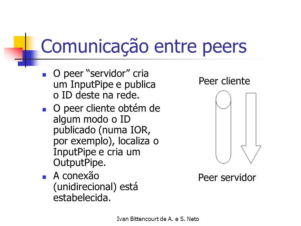 Ivan Bittencourt de A. e S. Neto Comunicação entre peers O peer servidor cria um InputPipe e publica o ID deste na rede. O peer cliente obtém de algum