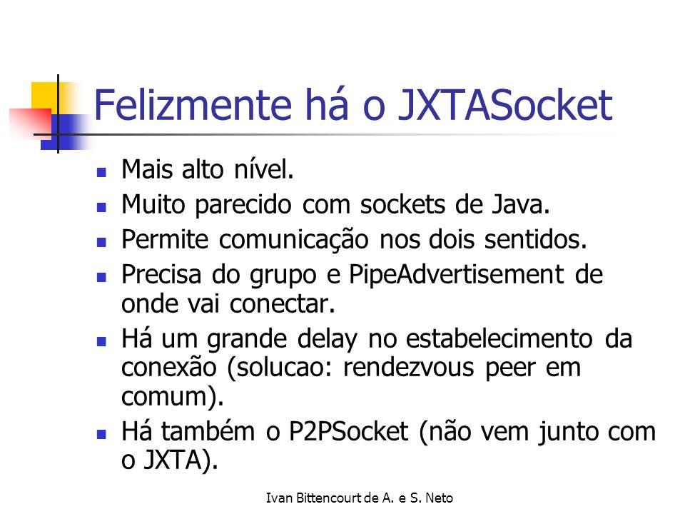 Ivan Bittencourt de A. e S. Neto Felizmente há o JXTASocket Mais alto nível. Muito parecido com sockets de Java. Permite comunicação nos dois sentidos