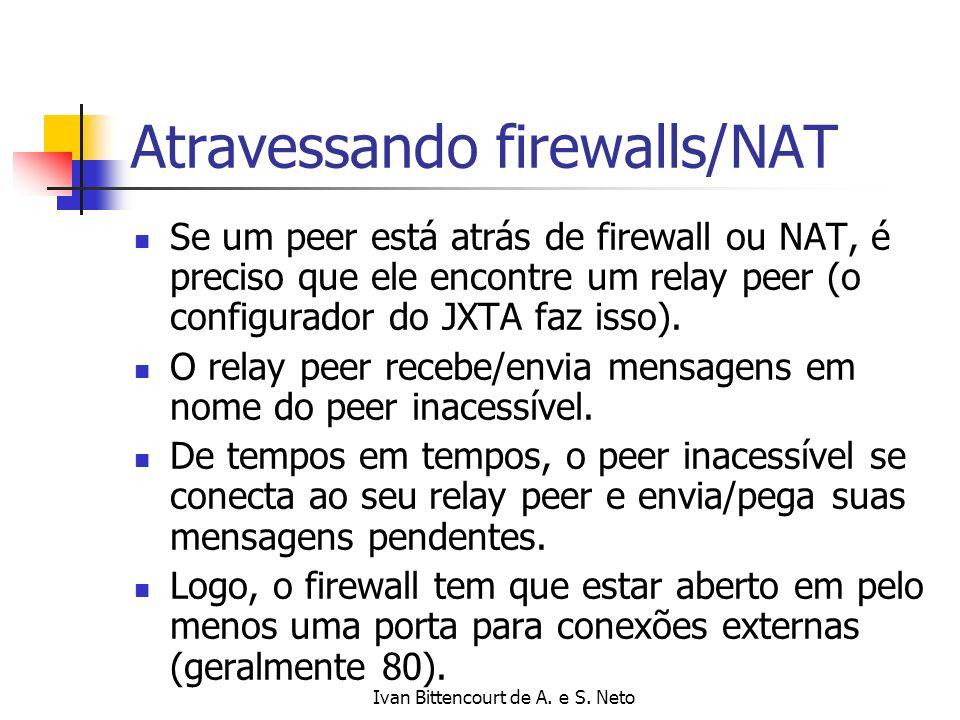 Ivan Bittencourt de A. e S. Neto Atravessando firewalls/NAT Se um peer está atrás de firewall ou NAT, é preciso que ele encontre um relay peer (o conf