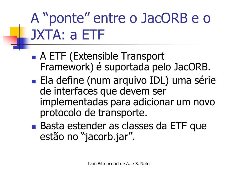 Ivan Bittencourt de A. e S. Neto A ponte entre o JacORB e o JXTA: a ETF A ETF (Extensible Transport Framework) é suportada pelo JacORB. Ela define (nu