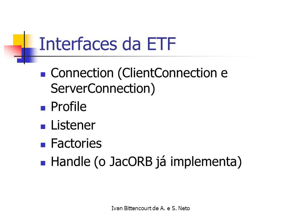 Ivan Bittencourt de A. e S. Neto Interfaces da ETF Connection (ClientConnection e ServerConnection) Profile Listener Factories Handle (o JacORB já imp