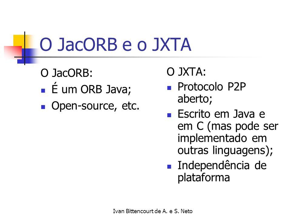 Ivan Bittencourt de A. e S. Neto O JacORB e o JXTA O JacORB: É um ORB Java; Open-source, etc. O JXTA: Protocolo P2P aberto; Escrito em Java e em C (ma