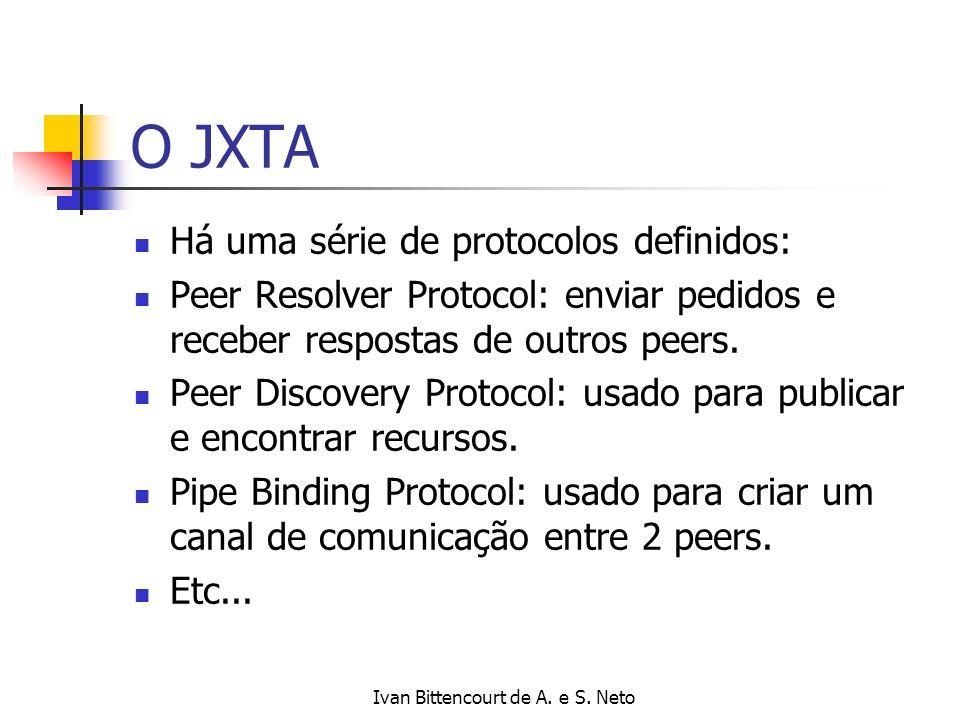 Ivan Bittencourt de A. e S. Neto O JXTA Há uma série de protocolos definidos: Peer Resolver Protocol: enviar pedidos e receber respostas de outros pee