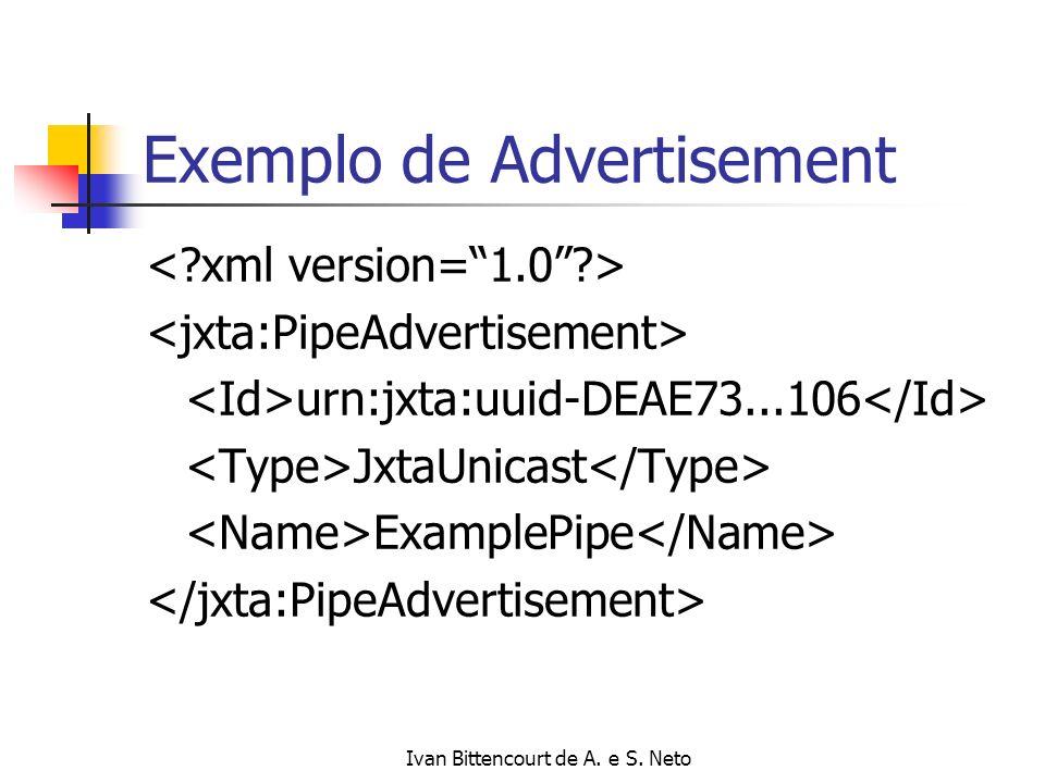 Ivan Bittencourt de A. e S. Neto Exemplo de Advertisement urn:jxta:uuid-DEAE73...106 JxtaUnicast ExamplePipe