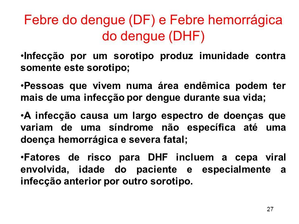 27 Febre do dengue (DF) e Febre hemorrágica do dengue (DHF) Infecção por um sorotipo produz imunidade contra somente este sorotipo; Pessoas que vivem
