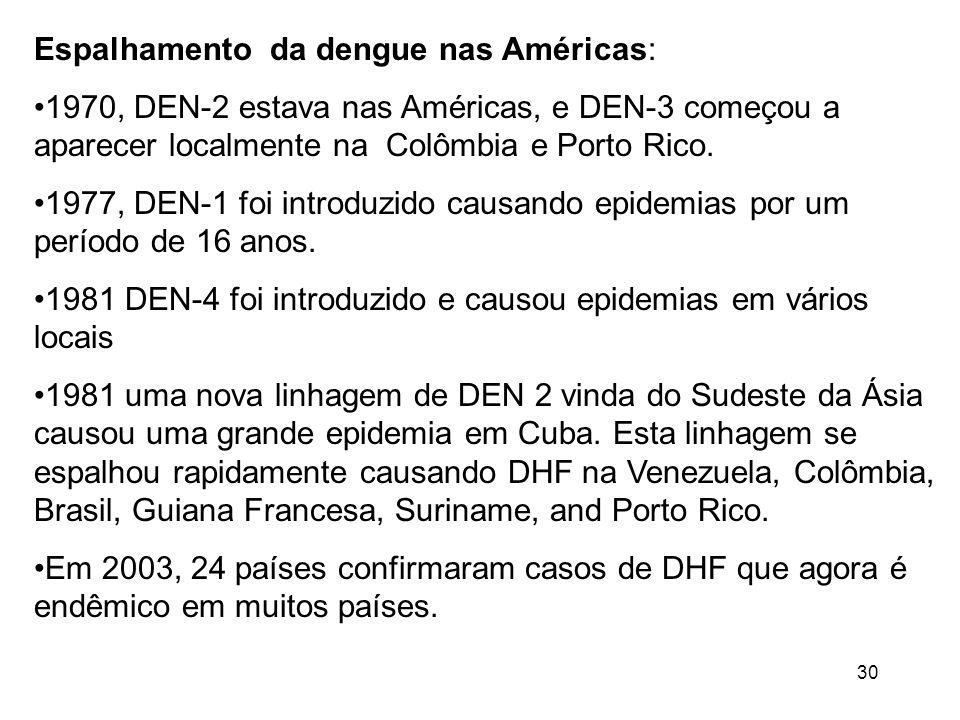 30 Espalhamento da dengue nas Américas: 1970, DEN-2 estava nas Américas, e DEN-3 começou a aparecer localmente na Colômbia e Porto Rico. 1977, DEN-1 f
