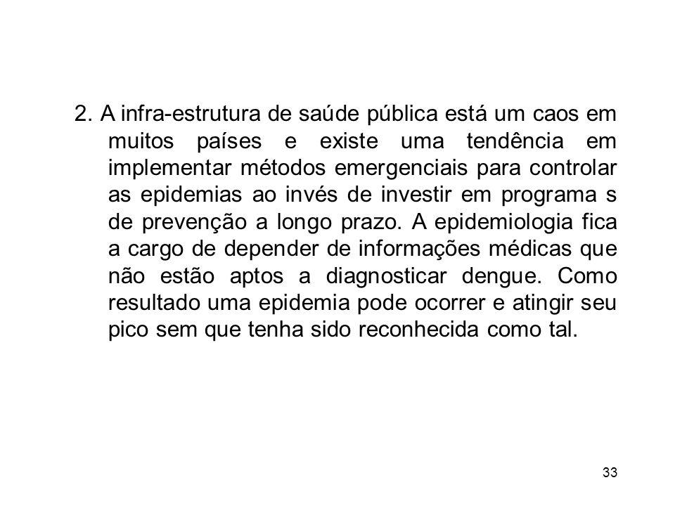 33 2. A infra-estrutura de saúde pública está um caos em muitos países e existe uma tendência em implementar métodos emergenciais para controlar as ep