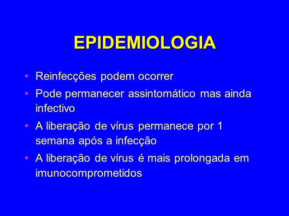 EPIDEMIOLOGIA Reinfecções podem ocorrer Pode permanecer assintomático mas ainda infectivo A liberação de vírus permanece por 1 semana após a infecção