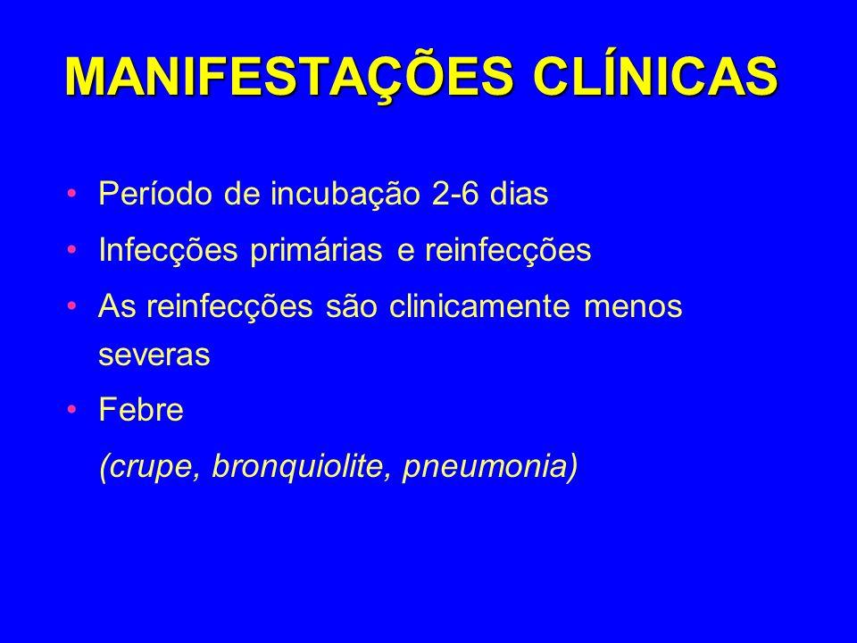MANIFESTAÇÕES CLÍNICAS Período de incubação 2-6 dias Infecções primárias e reinfecções As reinfecções são clinicamente menos severas Febre (crupe, bro