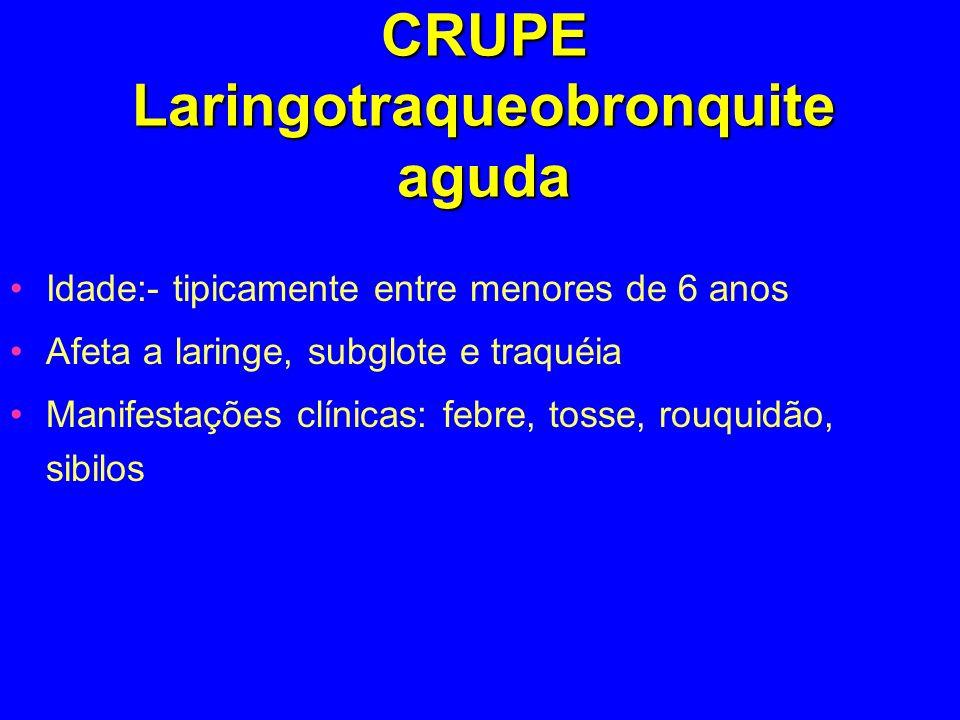 CRUPE Laringotraqueobronquite aguda Idade:- tipicamente entre menores de 6 anos Afeta a laringe, subglote e traquéia Manifestações clínicas: febre, to