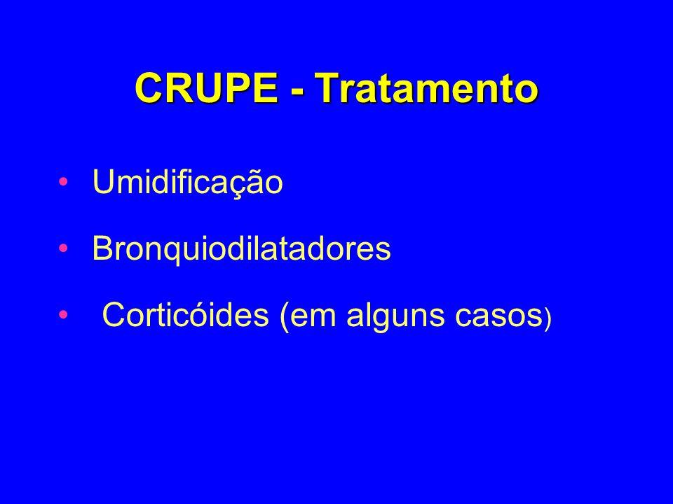 CRUPE - Tratamento Umidificação Bronquiodilatadores Corticóides (em alguns casos )