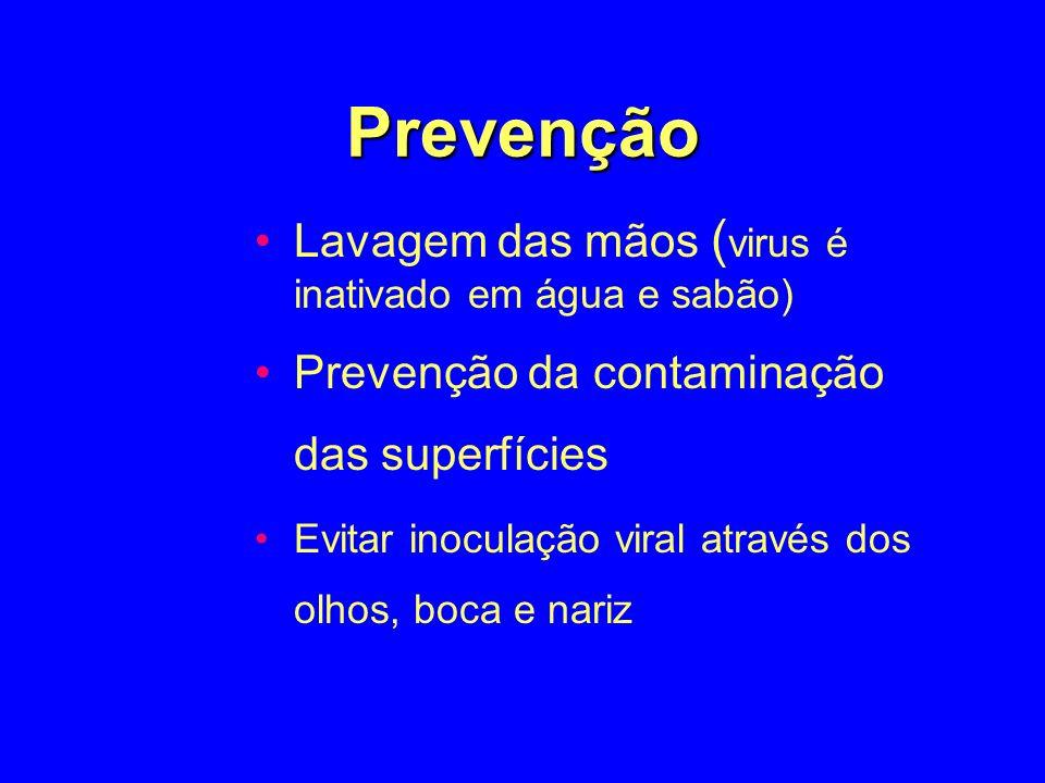 Prevenção Lavagem das mãos ( virus é inativado em água e sabão) Prevenção da contaminação das superfícies Evitar inoculação viral através dos olhos, b