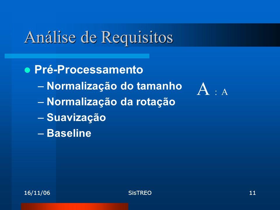 16/11/06SisTREO11 Análise de Requisitos Pré-Processamento –Normalização do tamanho –Normalização da rotação –Suavização –Baseline A : A