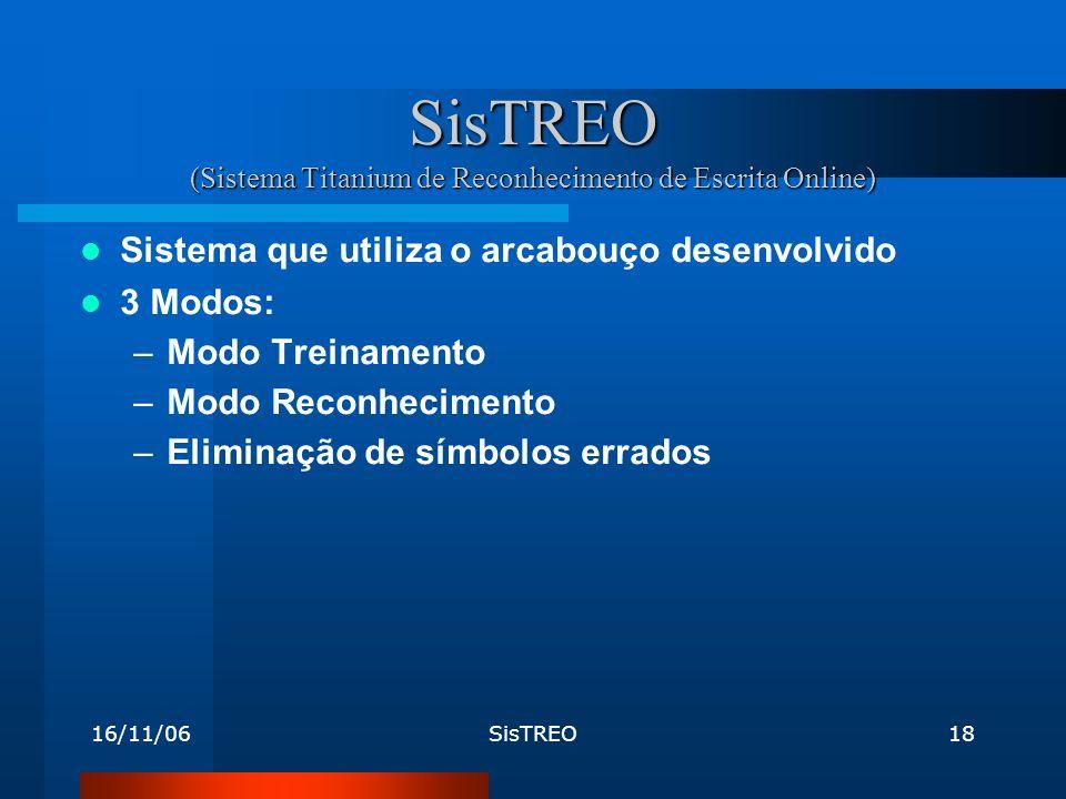 16/11/06SisTREO18 SisTREO (Sistema Titanium de Reconhecimento de Escrita Online) Sistema que utiliza o arcabouço desenvolvido 3 Modos: –Modo Treinamento –Modo Reconhecimento –Eliminação de símbolos errados