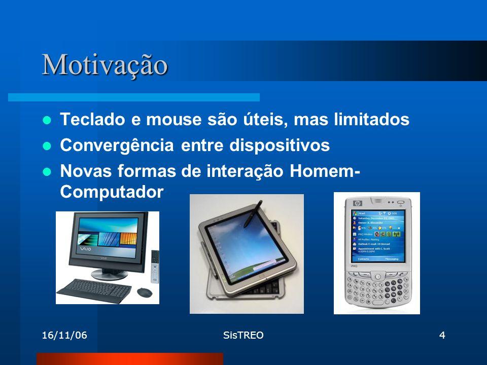 16/11/06SisTREO4 Motivação Teclado e mouse são úteis, mas limitados Convergência entre dispositivos Novas formas de interação Homem- Computador