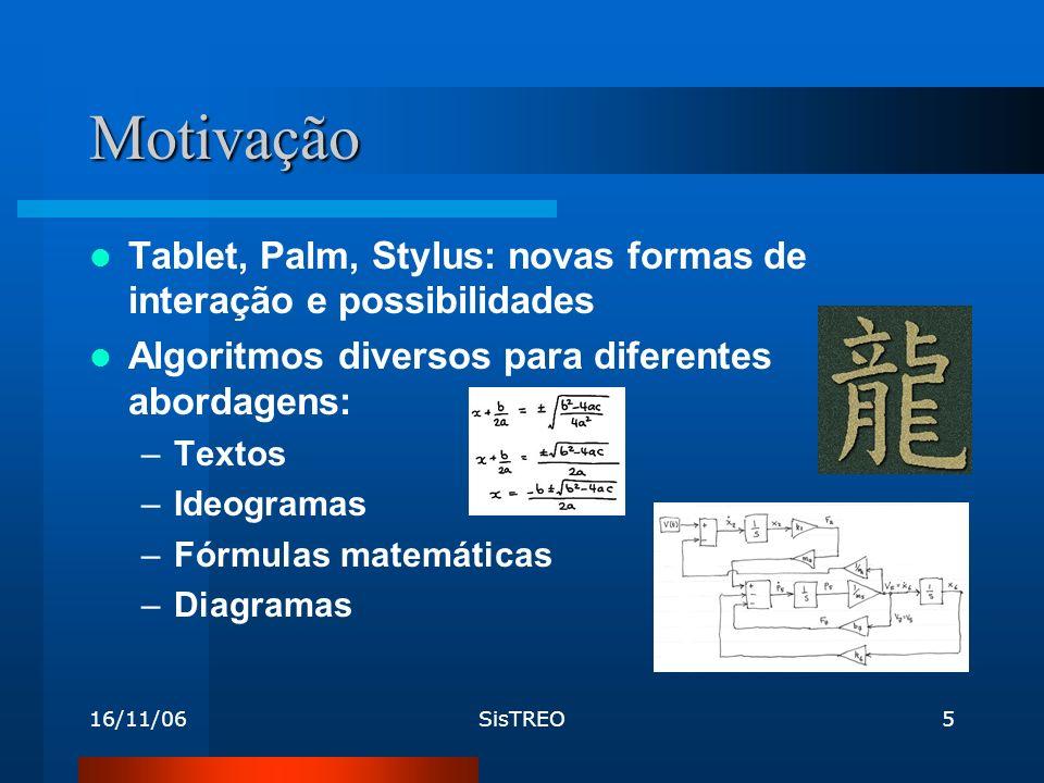 16/11/06SisTREO5 Motivação Tablet, Palm, Stylus: novas formas de interação e possibilidades Algoritmos diversos para diferentes abordagens: –Textos –Ideogramas –Fórmulas matemáticas –Diagramas