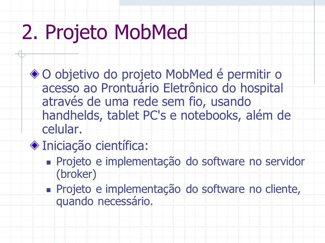2. Projeto MobMed O objetivo do projeto MobMed é permitir o acesso ao Prontuário Eletrônico do hospital através de uma rede sem fio, usando handhelds,