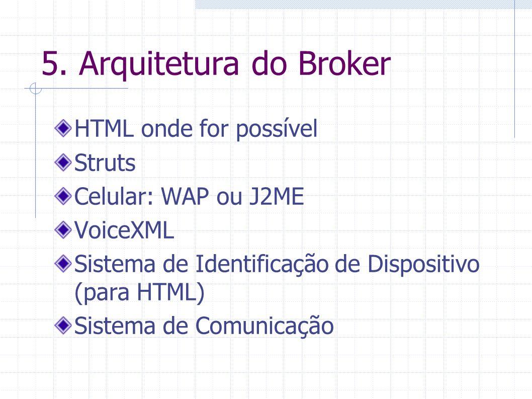 5. Arquitetura do Broker HTML onde for possível Struts Celular: WAP ou J2ME VoiceXML Sistema de Identificação de Dispositivo (para HTML) Sistema de Co