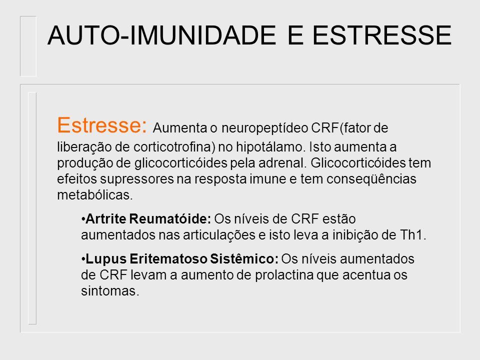 AUTO-IMUNIDADE E ESTRESSE Estresse: Aumenta o neuropeptídeo CRF(fator de liberação de corticotrofina) no hipotálamo. Isto aumenta a produção de glicoc