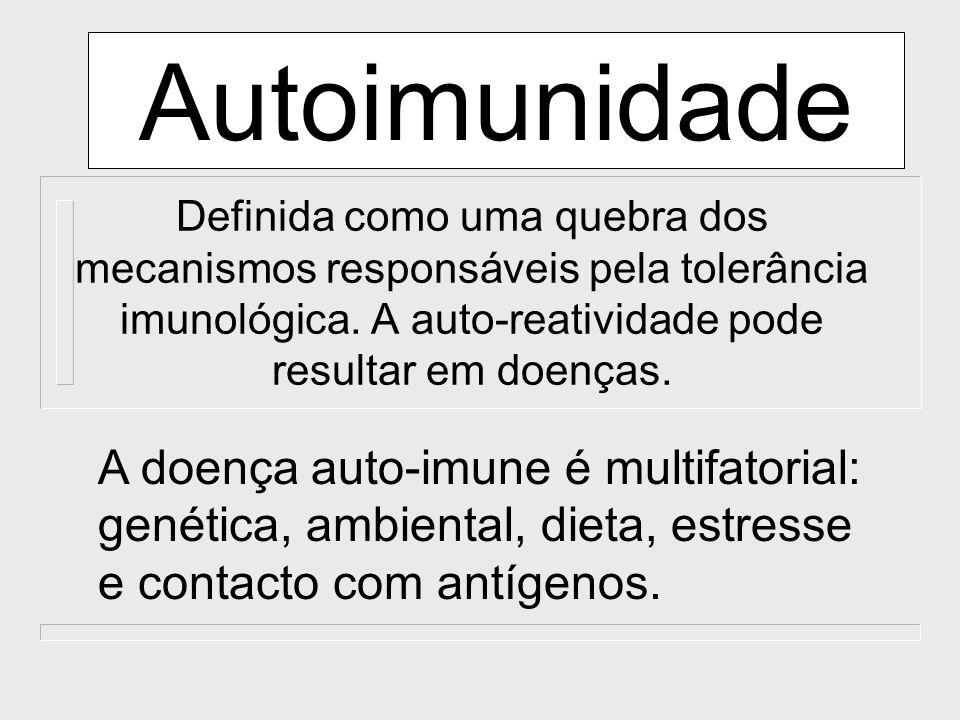 Autoimunidade Definida como uma quebra dos mecanismos responsáveis pela tolerância imunológica. A auto-reatividade pode resultar em doenças. A doença