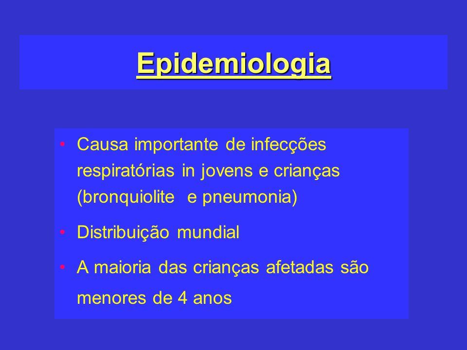 Epidemiologia Causa importante de infecções respiratórias in jovens e crianças (bronquiolite e pneumonia) Distribuição mundial A maioria das crianças