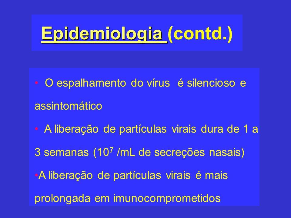 Epidemiologia Epidemiologia (contd.) O espalhamento do vírus é silencioso e assintomático A liberação de partículas virais dura de 1 a 3 semanas (10 7