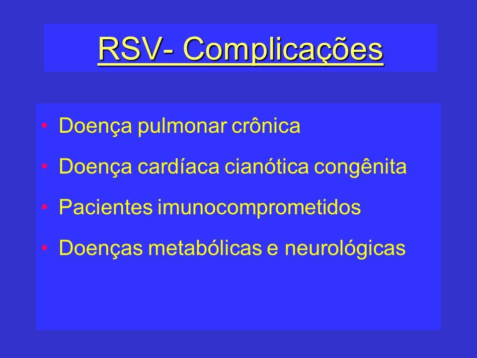 RSV- Complicações Doença pulmonar crônica Doença cardíaca cianótica congênita Pacientes imunocomprometidos Doenças metabólicas e neurológicas