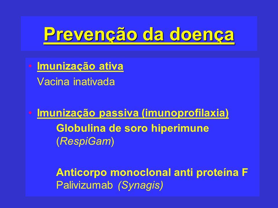 Prevenção da doença Imunização ativa Vacina inativada Imunização passiva (imunoprofilaxia) Globulina de soro hiperimune (RespiGam) Anticorpo monoclona