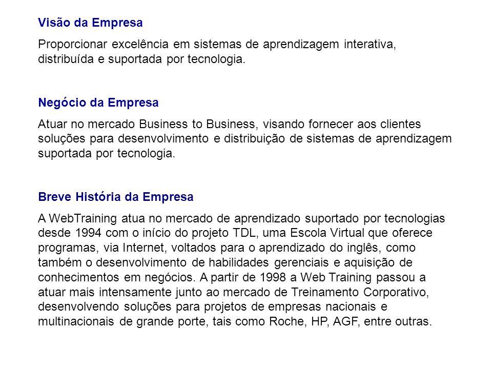 Visão da Empresa Proporcionar excelência em sistemas de aprendizagem interativa, distribuída e suportada por tecnologia.