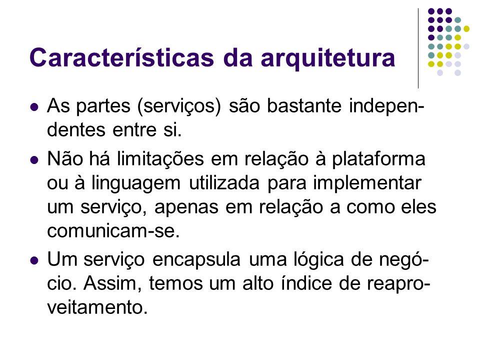 Características da arquitetura As partes (serviços) são bastante indepen- dentes entre si. Não há limitações em relação à plataforma ou à linguagem ut