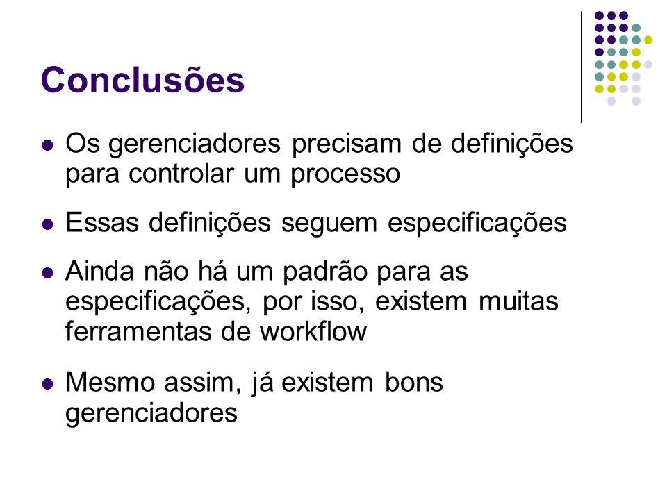 Conclusões Os gerenciadores precisam de definições para controlar um processo Essas definições seguem especificações Ainda não há um padrão para as es