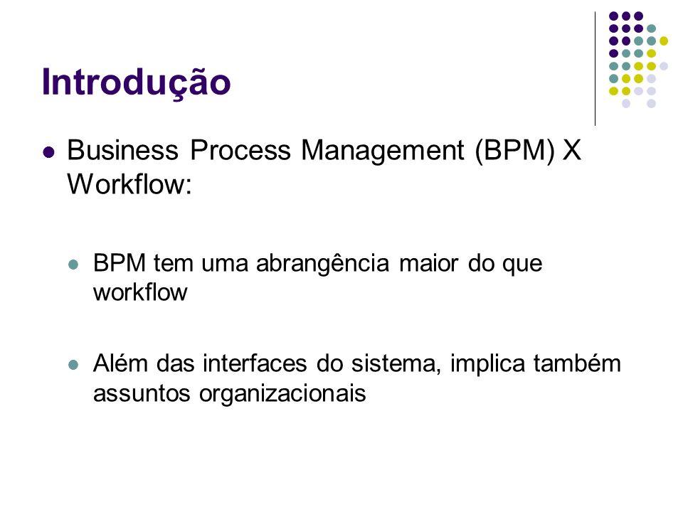 Introdução Business Process Management (BPM) X Workflow: BPM tem uma abrangência maior do que workflow Além das interfaces do sistema, implica também