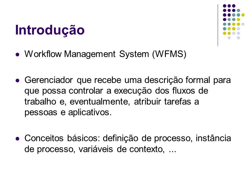 Introdução Workflow Management System (WFMS) Gerenciador que recebe uma descrição formal para que possa controlar a execução dos fluxos de trabalho e,