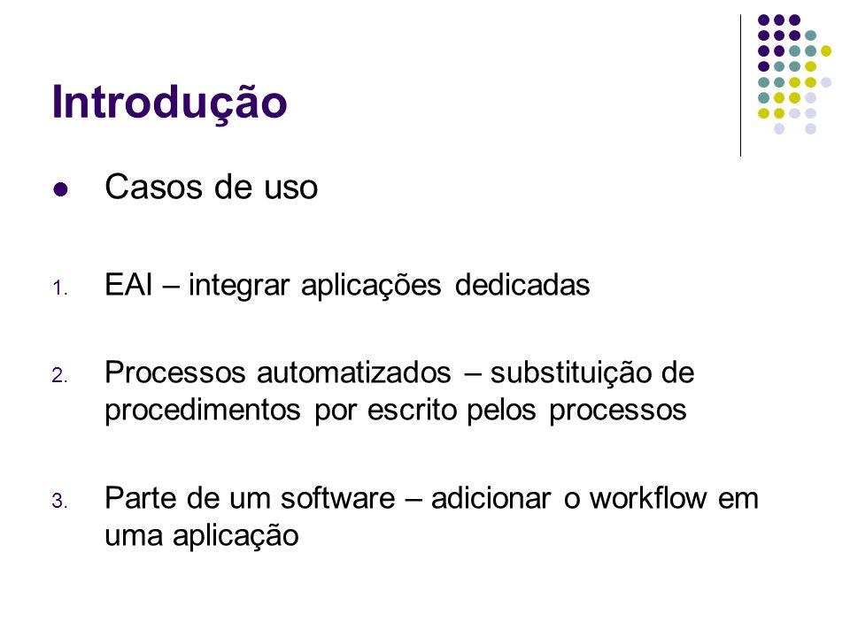 Introdução Casos de uso 1. EAI – integrar aplicações dedicadas 2. Processos automatizados – substituição de procedimentos por escrito pelos processos