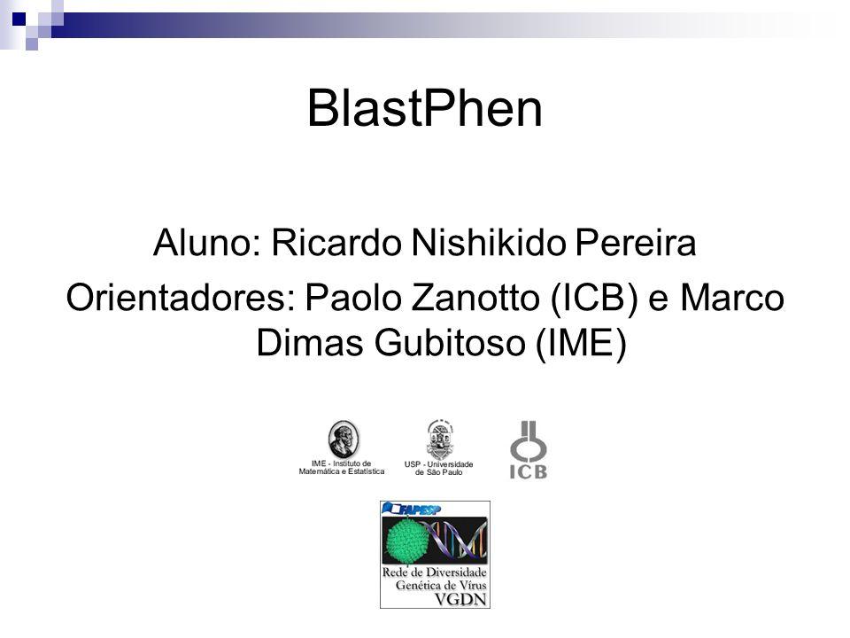 BlastPhen Aluno: Ricardo Nishikido Pereira Orientadores: Paolo Zanotto (ICB) e Marco Dimas Gubitoso (IME)