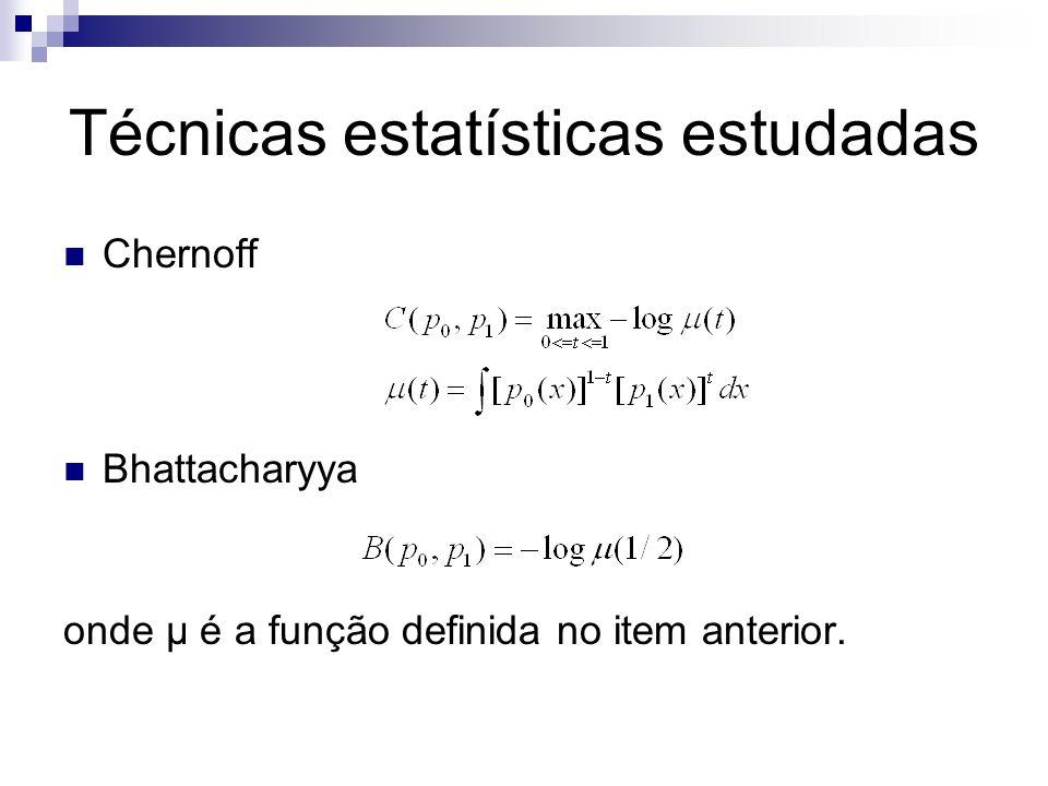 Técnicas estatísticas estudadas Chernoff Bhattacharyya onde μ é a função definida no item anterior.