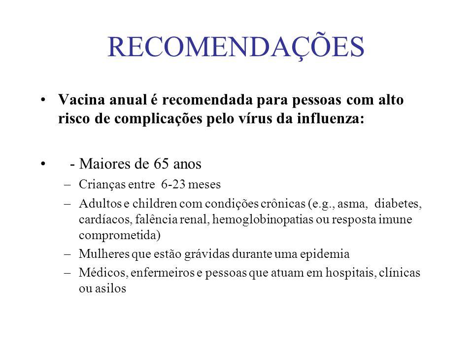 RECOMENDAÇÕES Vacina anual é recomendada para pessoas com alto risco de complicações pelo vírus da influenza: - Maiores de 65 anos –Crianças entre 6-2