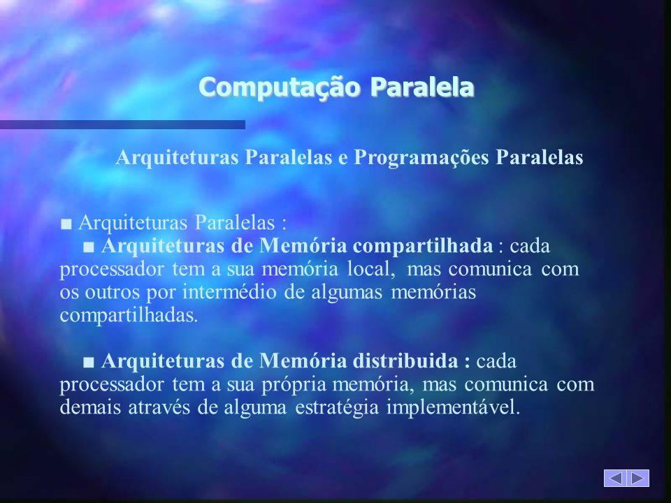 Computação Paralela Arquiteturas Paralelas : Arquiteturas de Memória compartilhada : cada processador tem a sua memória local, mas comunica com os outros por intermédio de algumas memórias compartilhadas.