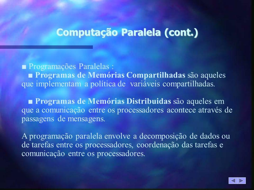 Computação Paralela (cont.) Programações Paralelas : Programas de Memórias Compartilhadas são aqueles que implementam a política de variáveis compartilhadas.