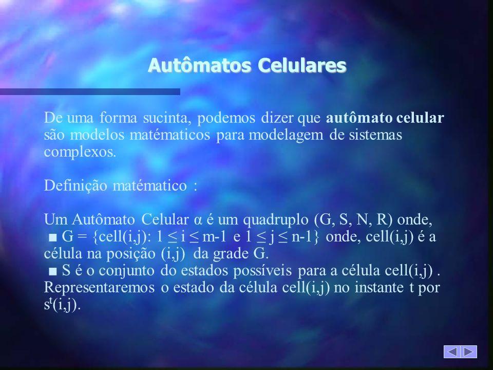 Autômatos Celulares De uma forma sucinta, podemos dizer que autômato celular são modelos matématicos para modelagem de sistemas complexos.