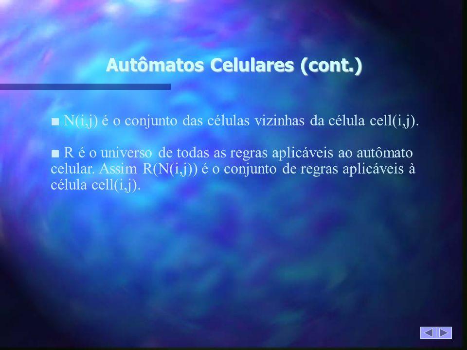 Autômatos Celulares (cont.) N(i,j) é o conjunto das células vizinhas da célula cell(i,j).