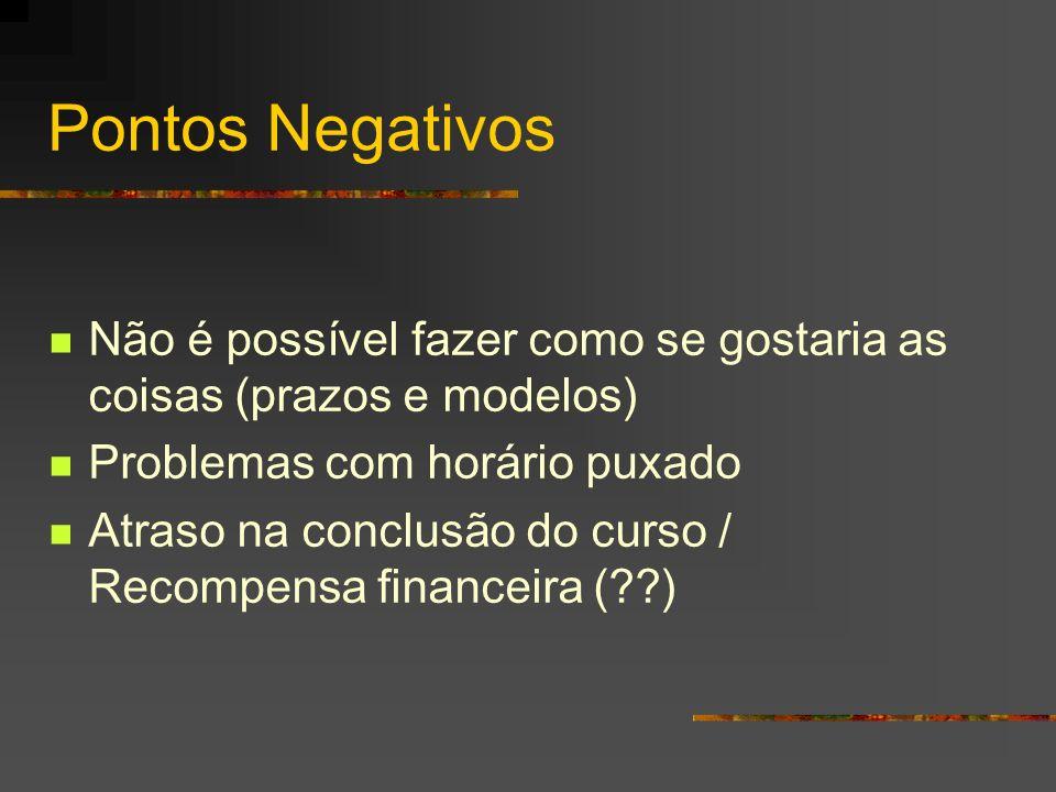 Pontos Negativos Não é possível fazer como se gostaria as coisas (prazos e modelos) Problemas com horário puxado Atraso na conclusão do curso / Recompensa financeira ( )