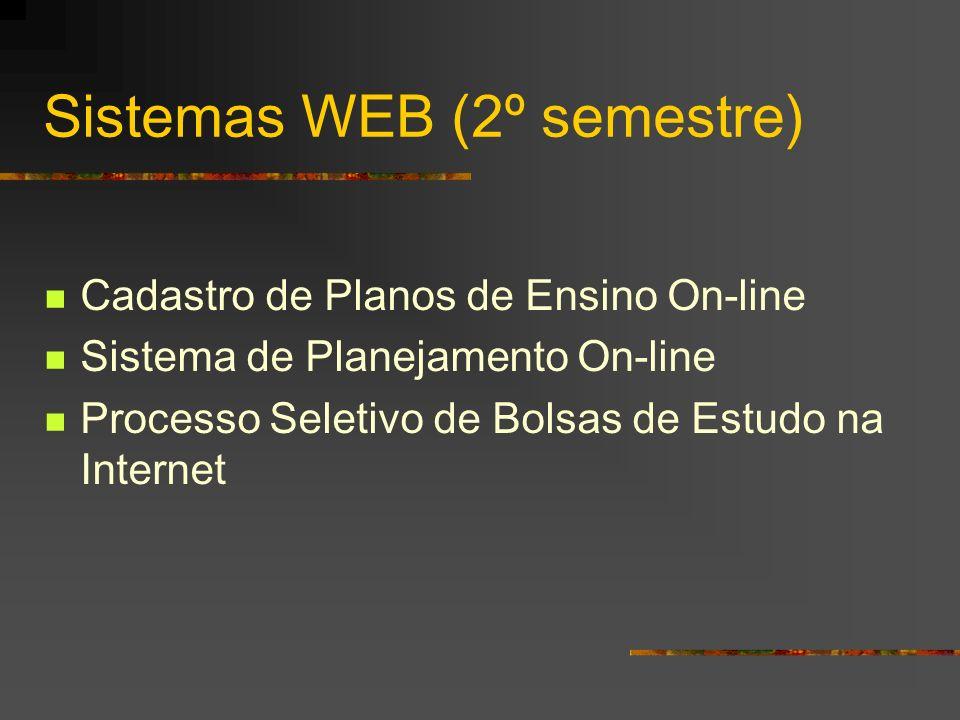 Sistemas WEB (2º semestre) Cadastro de Planos de Ensino On-line Sistema de Planejamento On-line Processo Seletivo de Bolsas de Estudo na Internet